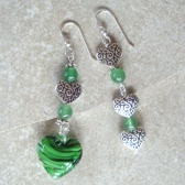 Green Hearts Earrings